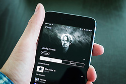 David Bowie album Backstar on Apple Music streaming service on an iPhone 6 plus smart phone