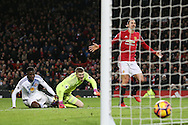 Manchester United's Zlatan Ibrahimovic scoring his sides second goal during the Premier League match at Old Trafford Stadium, London. Picture date December 26th, 2016 Pic David Klein/Sportimage