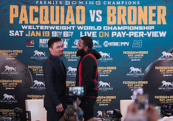 November 20, 2018 - Beverly Hills, California, U.S - (L) Manny Pacquiao and Adrien Broner face-off  during a news conference, Tuesday, November 20, 2018, in Beverly Hills, California. Pacquiao will defend his World Boxing Association welterweight title against Broner on January 19, 2019, in Las Vegas. (Credit Image: © Prensa Internacional via ZUMA Wire)