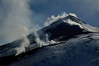 Fumaroles on the South East Crater of the Etna Volcano, Sicily, Italy