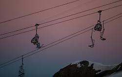 """TEMENBILD - Mölltaler Gletscher ist der Name für ein Skigebiet in Österreich, Kärnten, in der Nähe von Flattach. Das Skigebiet ist im Besitz der Schultz Gruppe. Das Skigebiet dient in den Sommer und Herbstmonaten als T Trainingstätte für den Internationalen Ski Zirkus. Aufgenommen am 23.10.2012. Hier im Bild Gipfellift Schareck (3.122m) """"Sesselbahn 3000""""  // THEME IMAGE FEATURE - Moelltal Glacier is the name of a ski resort in Austria, Carinthia, near Flattach. The resort is owned by the Schultz group. The ski area is in the summer and autumn months as T training venue for the International Ski Circus. The image was taken on october, 23th, 2012. Picture shows the chairlift to Schareck (3.122m) """"Sesselbahn 3000"""". EXPA Pictures © 2012, PhotoCredit: EXPA/ J. Groder"""