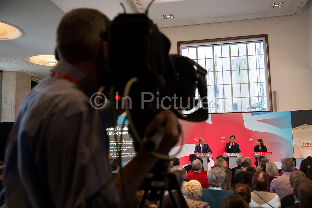 London, UK. Wednesday 29th April 2015. Labour Party Leader Ed Miliband, Shadow Chancellor Ed Balls, and Shadow Secretary of State for Work and Pensions Rachel Reeves speaks at a General Election 2015 campaign event on the Tory threat to family finances, entitled: The Tories' Secret Plan. Held at the Royal Institute of British Architects.