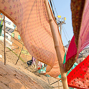 Washed clothes drying at the ghats of Varanasi