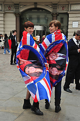 Trafalgar Square London, UK  29/04/2011. The Royal Wedding of HRH Prince William to Kate Middleton. General atmospher of Royal Wedding in Trafalgar Square. Photo credit should read ALAN ROXBOROUGH/LNP. Please see special instructions. © under license to London News Pictures