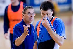 Coach Miro Pozun and Klemen Cehte at practice of Slovenian Handball Men National Team, on June 4, 2009, in Arena Kodeljevo, Ljubljana, Slovenia. (Photo by Vid Ponikvar / Sportida)