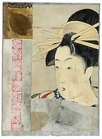 Wabi-sabi Geisha. A ripped shard from an antique Utamaro traditional Japanese Geisha in a grungy organic mixed medium collage.