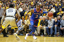 Jan 15, 2018; Morgantown, WV, USA; Kansas Jayhawks guard Lagerald Vick (2) dribbles the ball during the first half against the West Virginia Mountaineers at WVU Coliseum. Mandatory Credit: Ben Queen-USA TODAY Sports