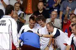 22-09-2006 TENNIS: DAVIS CUP: NEDERLAND - TSJECHIE: LEIDEN <br /> Tsjechie met Tomas Berdych, Jan Hernych<br /> ©2006-WWW.FOTOHOOGENDOORN.NL