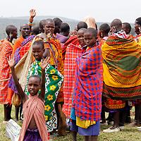 Africa, Kenya, Masai Mara. Maasai villagers of Olderkesi Community.