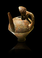 Terra cotta side spouted pitcher with lid - 1700 BC to 1500 BC - Kültepe Kanesh - Museum of Anatolian Civilisations, Ankara, Turkey. Against a black background .<br /> <br /> If you prefer to buy from our ALAMY STOCK LIBRARY page at https://www.alamy.com/portfolio/paul-williams-funkystock/hittite-art-antiquities.html  - Type Kultepe  into the LOWER SEARCH WITHIN GALLERY box. Refine search by adding background colour, place, museum etc<br /> <br /> Visit our HITTITE PHOTO COLLECTIONS for more photos to download or buy as wall art prints https://funkystock.photoshelter.com/gallery-collection/The-Hittites-Art-Artefacts-Antiquities-Historic-Sites-Pictures-Images-of/C0000NUBSMhSc3Oo