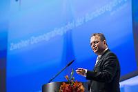 14 MAY 2013, BERLIN/GERMANY:<br /> Hans-Peter Friedrich, CSU, Bundesinnenminister, haelt eine Rede, 2. Demografiegipfel der Bundesregierung, Berliner Congress Centrum, BCC<br /> IMAGE: 20130514-01-014