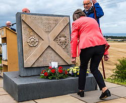 Musselburgh, East Lothian, Scotland, UK, Battle of Pinkie Cleugh commemoration: the annual ceremony takes place in a new format with live streaming as well as actual participation. The 473rd anniversary of the significant battle in Scotland's 'Rough Wooing' history is marked by a battle trail walk organised by the Pinkie Cleugh Battlefield Group ending at the memorial stone and a minute's silence for the 10,000 Scots killed on a day known as 'Boody Saturday'.  The battle was the largest ever fought in Scotland and resulted in a defeat for the Scots.<br /> Sally Anderson   EdinburghElitemedia.co.uk
