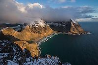 View from Ryten over Kvalvika beach, Moskenesøy, Lofoten Islands, Norway