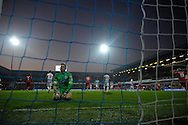 Goalkeeper Robert Green of Queens Park Rangers on his knees after Leicester city score their goal to equalise at 2-2 during the second half. Barclays Premier league match, Queens Park Rangers v Leicester city at Loftus Road in London on Saturday 29th November 2014.<br /> pic by John Patrick Fletcher, Andrew Orchard sports photography.