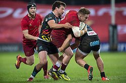March 23, 2019 - Limerick, Ireland - Rory Scannell of Munster tackled Tommaso Boni of Zebre during the Guinness PRO14 match between Munster Rugby and Zebre at Thomond Park Stadium in Limerick, Ireland on March 23, 2019  (Credit Image: © Andrew Surma/NurPhoto via ZUMA Press)