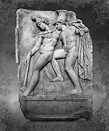 Roman Sebasteion relief sculpture of Achilles and a dying Amazon, Aphrodisias Museum, Aphrodisias, Turkey. Achilles supports the dying Amazon queen Penthesilea whom he has mortally wounded. Her double headed axe slips from her hands. The queen had come to fight against the Greeks in the Trojan war and Achilles fell in love with her.  wall art print by Photographer Paul E Williams