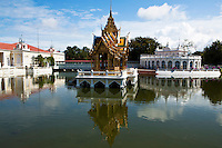 Bang Pa In Summer Palace was originally built by King Prasat Thong in 1632 but abandoned after the end of the Ayutthaya Period.  The palace was partially restored by King Mongkut in the 1850s. The site as it stands today is largely the work of King Chulalongkorn who expanded the area into a Versailles type garden filled with European style buildings.