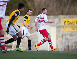 East Fife's Kevin Smith scoring their first goal. <br /> East Fife 1 v 0 Stirling Albion, Scottish Football League Division Two game played atBayview Stadium, 20/2/2106.