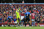 goalkeeper Artur Boruc of Bournemouth (L) in action with Joleon Lescott (C) and Ciaran Clark of Aston Villa.<br /> Barclays Premier League match, Aston Villa v AFC Bournemouth at Villa Park in Birmingham, The Midlands on Saturday 09th April 2016.<br /> Pic by Ian Smith, Andrew Orchard Sports Photography.