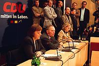 18 JAN 2000, BERLIN/GERMANY:<br /> Angela Merkel, CDU Generalsekretärin, und Wolfgang Schäuble, CDU Parteivorsitzender, während der Pressekonferenz zu den Ergebnissen der Sitzung des CDU Bundesvorstandes in Verbindung mit der Parteispendenaffäre, Konrad-Adenauer-Stiftung<br /> Angela Merkel (L), General Secretary, and Wolfgang Schaeuble (M), Chairman of the Christian Democratic Union (CDU), during a press conference about the results of the executive committees deliberations about the affair of secret donations to the CDU<br /> IMAGE: 20000118-01/02-24<br /> KEYWORDS: Parteispenden, Affäre