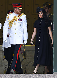 Prince Harry Duke of Sussex and Meghan Duchess of Sussex attend the official opening of the ANZAC memorial, Hyde Park, Sydney. Photo credit should read: Doug Peters/EMPICS