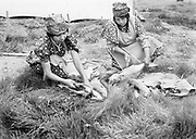 9305-B7046.  Nancy Jim (left) and Hannah Sohappy Yallup are cleaning the first salmon caught for the traditional Feast of the First Salmon at Celilo village, April 7, 1940.