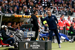 Chelsea manager Maurizio Sarri (right) argues with a fourth official during the UEFA Europa League Semi final, first leg match at The Frankfurt Stadion, Frankfurt.