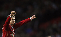 Photo: Paul Thomas.<br /> Manchester United v Aston Villa. The FA Cup. 07/01/2007.<br /> <br /> Ole Gunnar Solskjaer celebrates at the final whistle after winning the game.