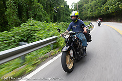 Loring Hill riding a Henderson Motorcycle during the Cross Country Chase motorcycle endurance run from Sault Sainte Marie, MI to Key West, FL (for vintage bikes from 1930-1948). Stage 5 had riders cover 213 miles from Bowling Green, KY to Chatanooga, TN USA. Tuesday, September 10, 2019. Photography ©2019 Michael Lichter.
