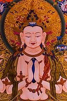Hand painted thangkas in a gallery, Bhaktapur, Kathmandu Valley, Nepal.