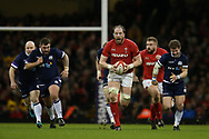 Alun Wyn Jones, the Wales captain makes a break in the 2nd half. Wales v Scotland, NatWest 6 nations 2018 championship match at the Principality Stadium in Cardiff , South Wales on Saturday 3rd February 2018.<br /> pic by Andrew Orchard, Andrew Orchard sports photography