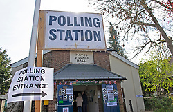 © Licensed to London News Pictures 06/05/2021. Bromley, UK. Hayes Village Hall, Bromley, London. Local council Elections 2021. Polling stations have opened across the UK today to allow people to vote for their Local councillors, police and crime commissioners and Londoners will get to elect the next Mayor of London. Due to Coronavirus people have to wear masks when voting. Photo credit:Grant Falvey/LNP