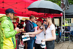 Fans and TEM Catez hostesses during 5th Stage of 26th Tour of Slovenia 2019 cycling race between Trebnje and Novo mesto (167,5 km), on June 23, 2019 in Slovenia. Photo by Matic Klansek Velej / Sportida