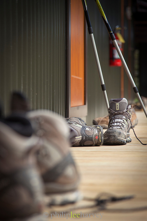 Hiking boots and hiking poles, Routeburn Track, South Island, New Zealand