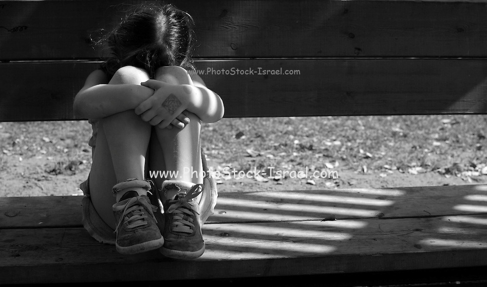 detached and Frightened girl of 4 afraid of domestic violence model release available