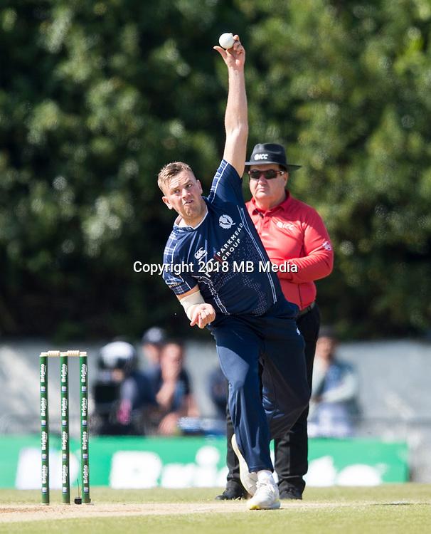 EDINBURGH, SCOTLAND - JUNE 12: Mark Watt of Scotland bowls during the International T20 Friendly match between Scotland and Pakistan at the Grange Cricket Club on June 12, 2018 in Edinburgh, Scotland. (Photo by MB Media/Getty Images)