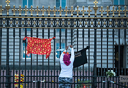 © Licensed to London News Pictures. 10/04/2021. London, UK. A woman places a tribute at the gates of Buckingham Palace at first light, the morning after the death of Prince Philip, The Duke of Edinburgh. Yesterday (Fri) The British Royal Family announced the death of The Duke of Edinburgh, at the age of 99. Photo credit: Ben Cawthra/LNP