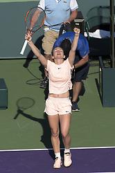 March 22, 2018 - Miami, FL, United States - Miami, FL - March, 22: Simona Halep (ROU) celebrating  here, defeats Oceane Dodin (FRA) 36 63 75 at the 2017 Miami Open held at the Tennis Center at Crandon Park.   Credit: Andrew Patron/Zuma Wire (Credit Image: © Andrew Patron via ZUMA Wire)