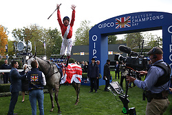 Persuasive ridden by Fankie Dettori wins The Queen Elizabeth II Stakes Race run during Qipco British Champions Day at Ascot Racecourse.