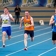NLD/Apeldoorn/20180217 - NK Indoor Athletiek 2018, 60 meter heren, Jordy Kluft, Thomas Reijnders en Wouter Brus