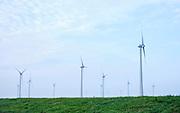 Windmills on a dam called the Philipsdam in Zeeland, Netherlands - Windmolens op de Philipsdam in Zeeland.