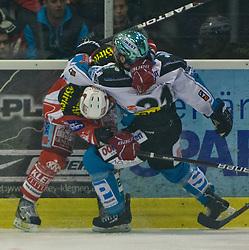 "25.03.2012, Stadthalle, Klagenfurt, EBEL, EC KAC vs EHC LIWEST BLACK WINGS LINZ, Playoff, Finale, 2. Spiel, im Bild Raphael Herburger (Kac, #89), Phillipp Lukas (BW Linz, #21) during the final Match of ""Erste Bank Icehockey League"", second encounter between EC KAC and EHC LIWEST BLACK WINGS LINZ at Stadthalle, Klagenfurt, Austria on 2012/03/25. EXPA Pictures © 2012, PhotoCredit: EXPA/ Mag. Gert Steinthaler"