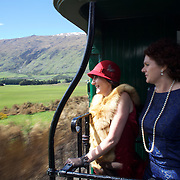 Helen Goodall, (left) and Priscilla Gear riding on the Kingston Flyer vintage steam train at Saturday's relaunch of the historic locomotives at Fairlight near Queenstown, Central Otago, New Zealand, 29th October 2011. Photo Tim Clayton...