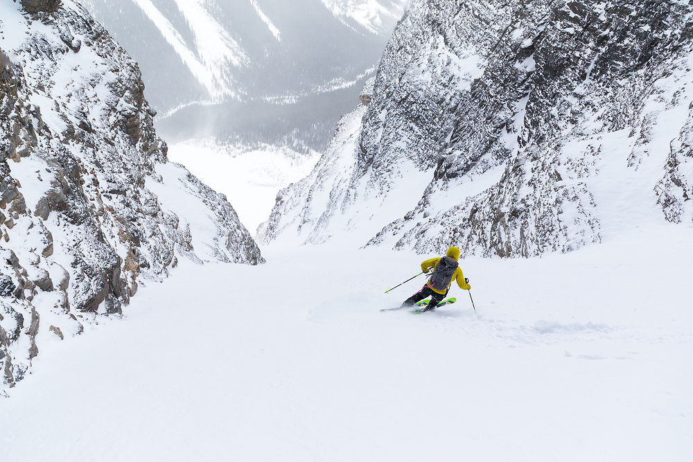 Taylor Sullivan skiing Cobra Couloir on Mt Temple in Banff National Park