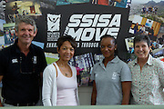 (l-r) Morne du Plessis (outgoing Managing Director of the SSISA), Marlene Coetzee-George  (General Manager of SSISA), Dr Phathokuhle Zondi (incoming Managing Director of the Sports Science Institute of SA (SSISA)). Prof Vicki Lambert (head of UCT Division of Exercise Science and Sports Medicine). Image by Greg Beadle