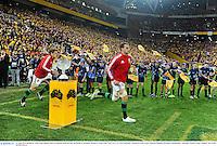 22 June 2013; British & Irish Lions captain Sam Warburton leads his side out ahead of the game. British & Irish Lions Tour 2013, 1st Test, Australia v British & Irish Lions, Suncorp Stadium, Brisbane, Queensland, Australia. Picture credit: Stephen McCarthy / SPORTSFILE