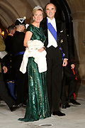 Gala dinner on the occasion of the civil wedding of Grand Duke Guillaume and Princess Stephanie at the Grand-Ducal palace in Luxembourg <br /> <br /> On the photo: Princess Claire and Prince Lorenz