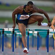 David Oliver, USA, winning the Men's 110m Hurdles in 13.29 at the Sydney Track Classic 2009 held at Sydney Olympic Park Athletics Centre, Sydney, Australia on February 28, 2009.  Photo Tim Clayton