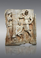 Roman Sebasteion relief  sculpture of Meleager and Atalante  Aphrodisias Museum, Aphrodisias, Turkey.<br /> <br /> Meleager sits on a rock tying his sandal. Below him lies a fierce hunting dog with a broad collar. On one side a god or another hero wearing a rounded hat was crowning Meleager ( arm missing). On the other side stands the huntress Atalante, Meleager's lover: she wears a short dress and quiver, and lifts her cloak at the shoulder in a gesture of modesty. .<br /> <br /> If you prefer to buy from our ALAMY STOCK LIBRARY page at https://www.alamy.com/portfolio/paul-williams-funkystock/greco-roman-sculptures.html . Type -    Aphrodisias     - into LOWER SEARCH WITHIN GALLERY box - Refine search by adding a subject, place, background colour, museum etc.<br /> <br /> Visit our ROMAN WORLD PHOTO COLLECTIONS for more photos to download or buy as wall art prints https://funkystock.photoshelter.com/gallery-collection/The-Romans-Art-Artefacts-Antiquities-Historic-Sites-Pictures-Images/C0000r2uLJJo9_s0