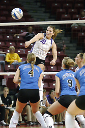 24 November 2006: Danielle Brazda strikes the ball towards Amanda Cvejdlik during a Semi-final match between the Creighton University Bluejays and the Northern Iowa University Panthers. The Tournament was held at Redbird Arena on the campus of Illinois State University in Normal Illinois.<br />